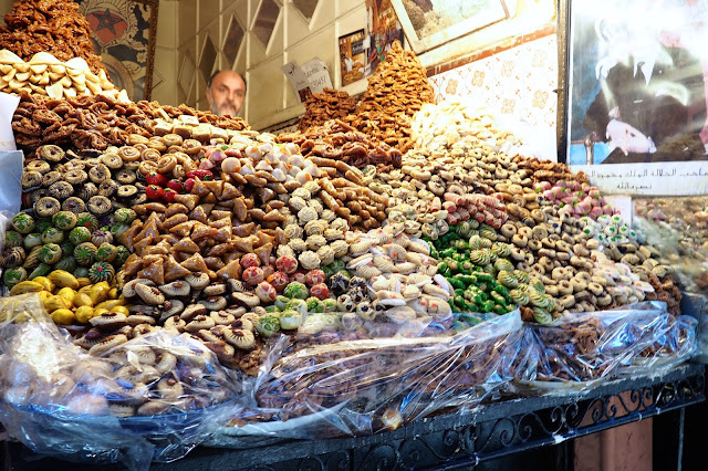 sweet stall in Marrakech souks