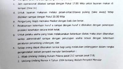 Tekan Penyebaran Covid-19, Bupati Sidrap Terbitkan Surat Edaran Pelaksanaan Kegiatan Makan/Minum di Tempat Umum