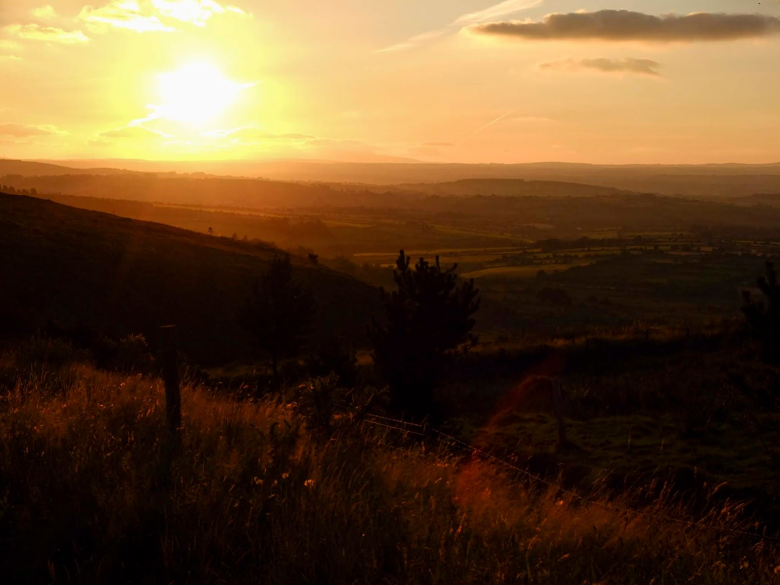 Sunset in the valley in Boggeragh Mountains in County Cork.