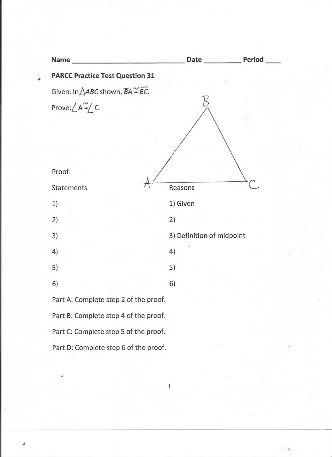 worksheet Proving Angles Congruent Worksheet geometry common core style parcc practice test question 31 day 174 the seventh graders dont need to know volume of a pyramid but our students do so course i retain these questi