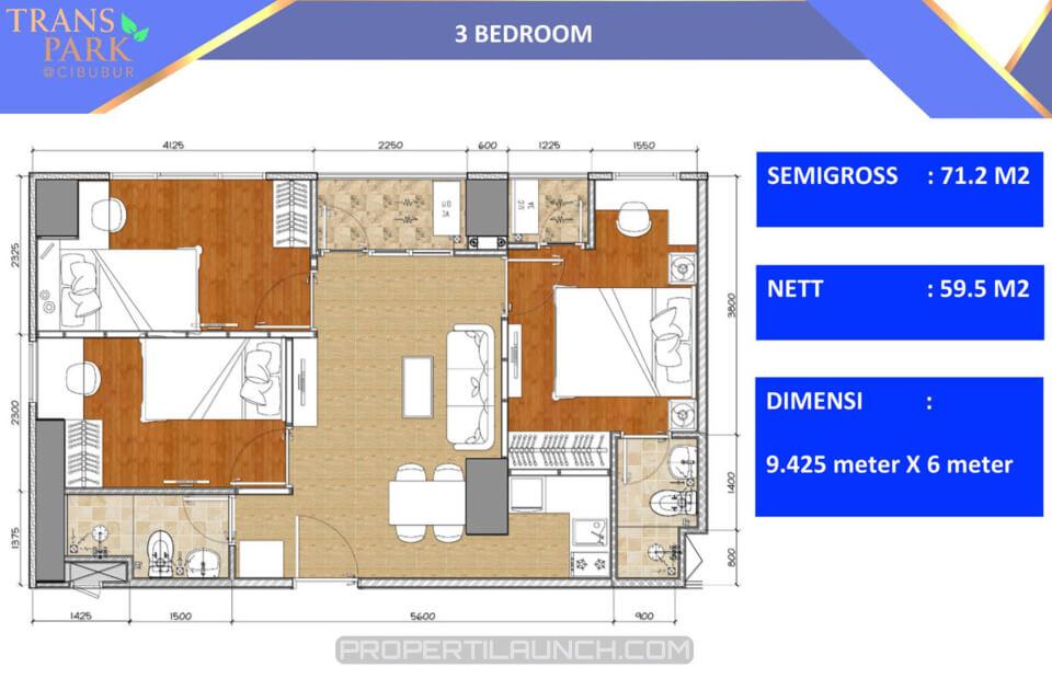 Tipe 3 Bedroom Apartment Trans Park