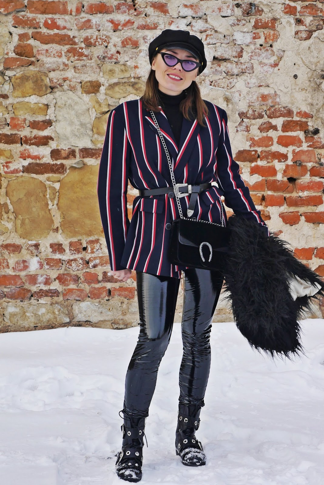 stripes jacket black fur coat turtleneck sweater vinyl pants karyn fashion blogger