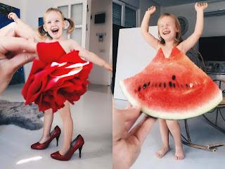 Uma menina e sua mãe imaginam vestidos criativos no Instagram
