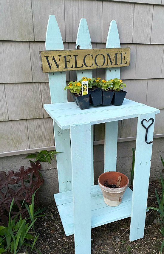 Secret Garden picket fence potting table