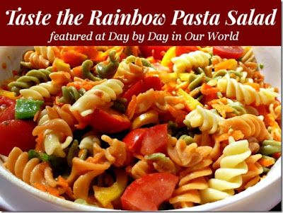 http://daybydayinourworld.com/2014/06/taste-the-rainbow-pasta-salad/