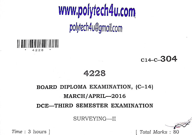 POLYTECHNIC SURVEYING-2 C-14 MODEL PAPER 2016