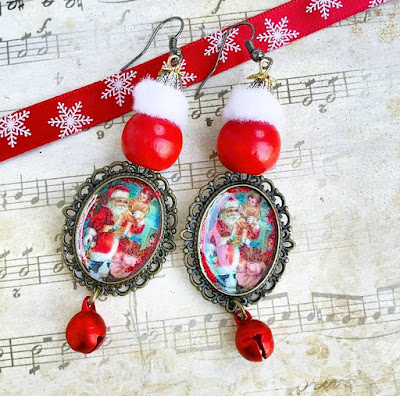 christmas earrings santa claus jewelry ugly sweater gift idea for her