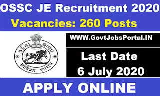 OSSC JE Recruitment 2020