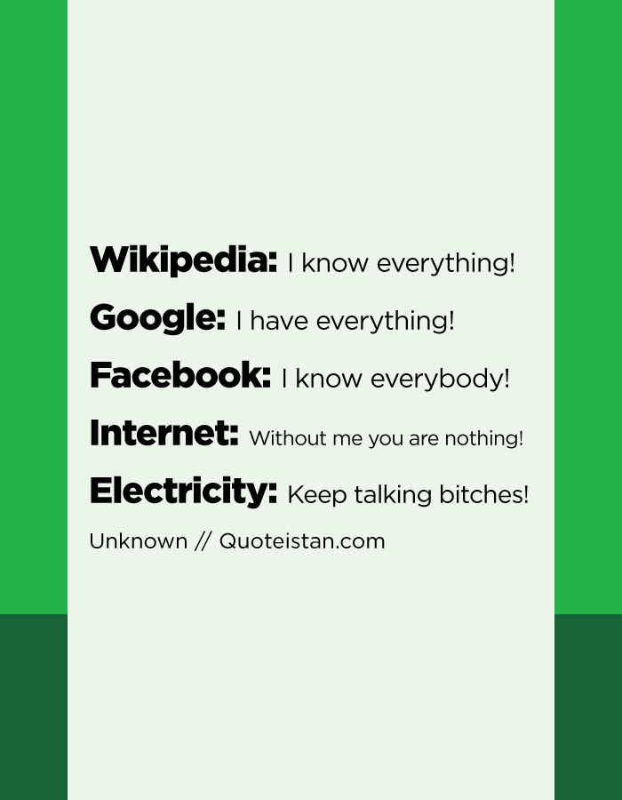 Wikipedia: I know everything! Google: I have everything! Facebook: I know everybody! Internet:Without me you are nothing! Electricity: Keep talking bitches!