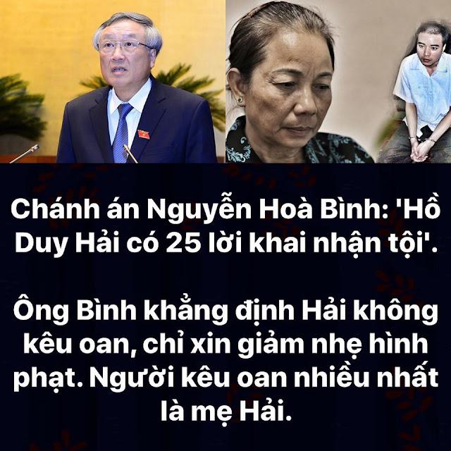 Trọng chứng cứ hay trọng cung: Chánh án Nguyễn Hoà Bình: 'Hồ Duy Hải có 25 lời khai nhận tội'