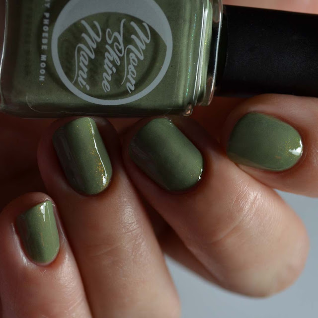 olive green nail polish with rainbow shimmer