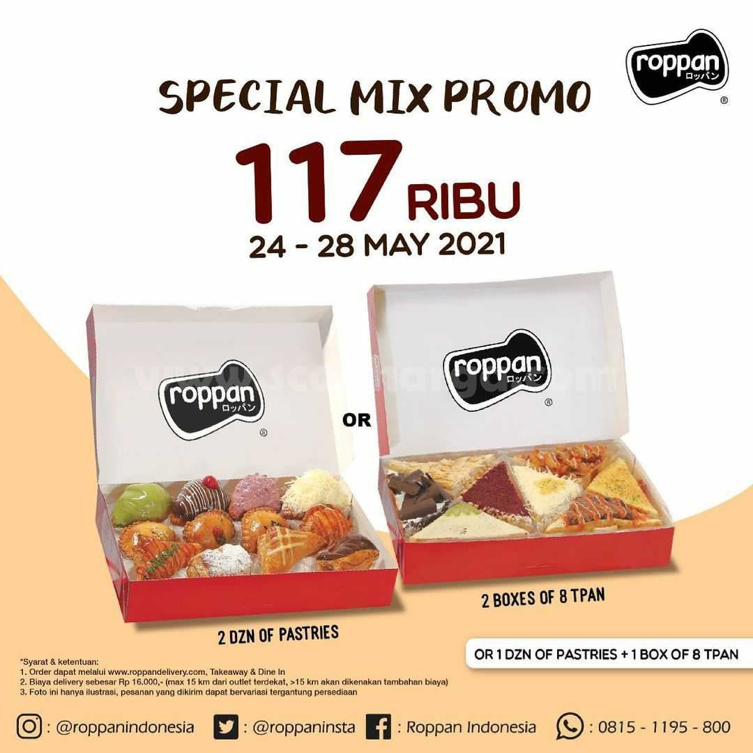 ROPPAN Special Mix – Promo Beli Paket 2 Dzn Mix Pastries hanya Rp 117.000