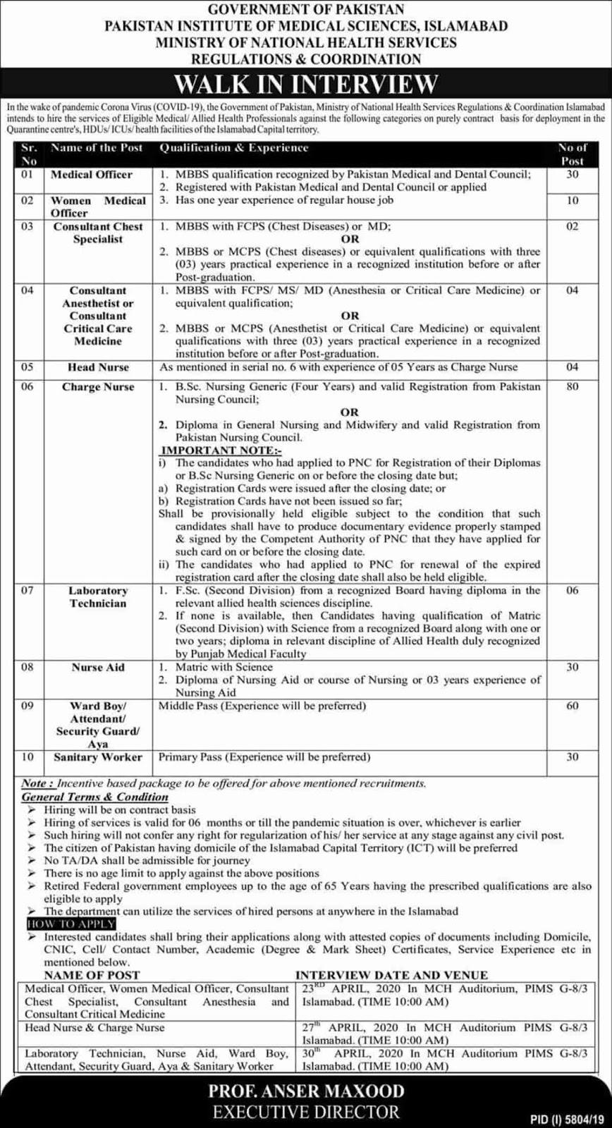 PIMS Jobs 2020   Pakistan Institute of Medical Sciences