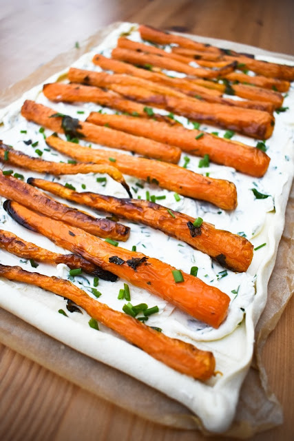 Scottish Baby Carrot & Chive Tart - step three - adding roast carrots