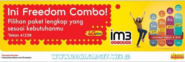Paket IM3 Freedom Combo Bonus Nelpon, SMS dan Data 4G Unlimited Internet