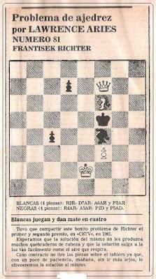 Problema de ajedrez de Lawrence Aries o Lorenzo Ponce Sala