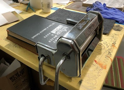 Pasta machine on it's side for printing