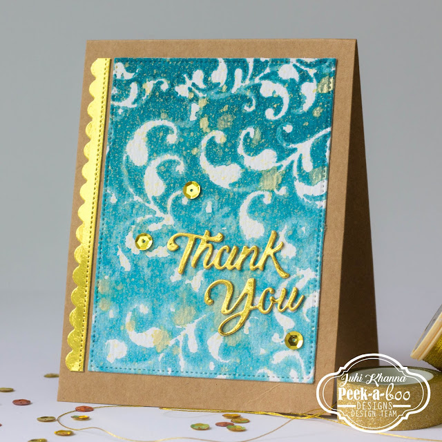 watercolor thank you card with Peek-a-boo designs stamps and dies