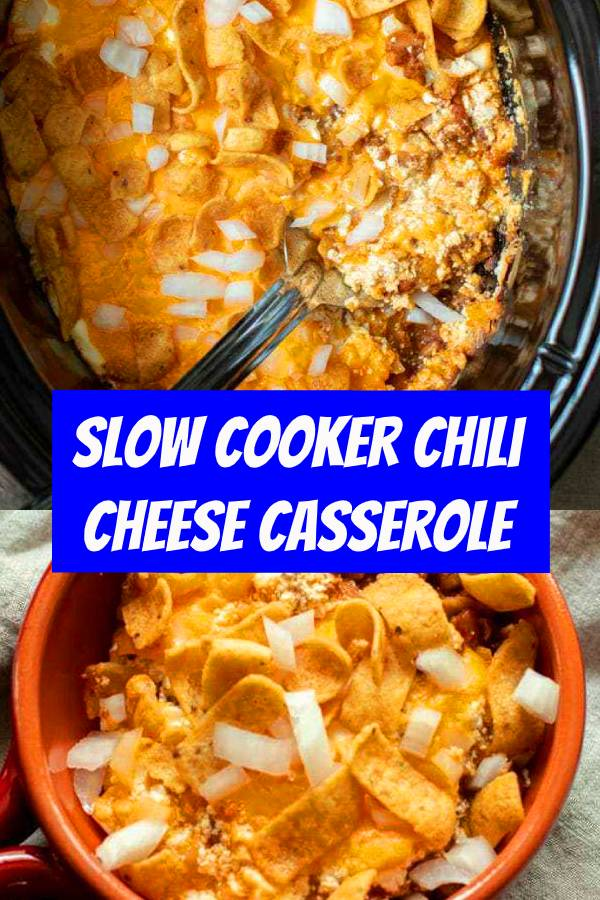 Slow Cooker Chili Cheese Casserole is everything comfort food should be! Chili, sour cream, cheese and Fritos come together to make an amazing casserole. This recipe is perfect for game day or even a lazy Sunday dinner. A layered casserole with chili, cheese, sour cream, fritos and onions. #slowcooker #cheese #casserole #dinner