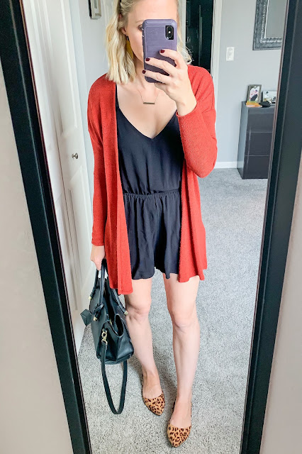 Early fall outfit | Romper with cardigan