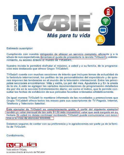 tvcable revista no solicitada