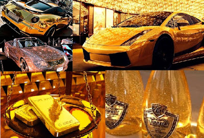 Rich lifestyle in Dubai gold bars car pictures