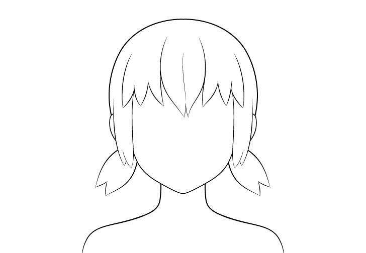 Anime gambar garis rambut kuncir pendek