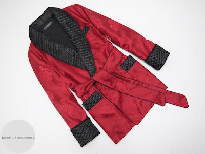 gentleman smoking jacket quilted silk black and red dandy robe dapper dressing gown cigar smoker robes traditional english vintage style