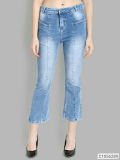 Wome Mid Rise Slim Fit Denim Solid Jeans