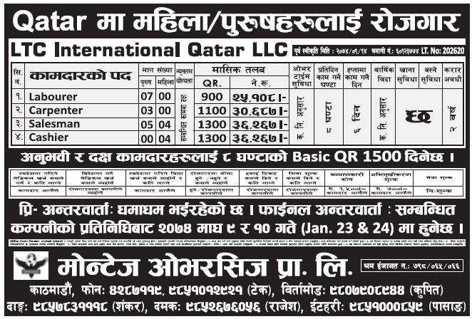 Jobs in Qatar for Nepali, Salary Rs 36,267