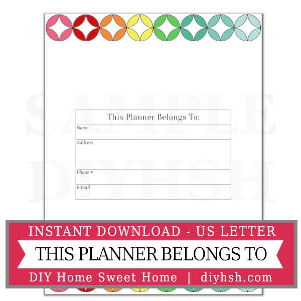 Belongs To Page- Free Printable For Home Management Binder