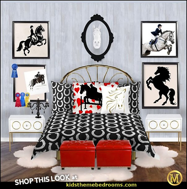 horse glam bedroom EQUESTRIAN BEDROOMS horse shoe bedding horse wall art cowgirls