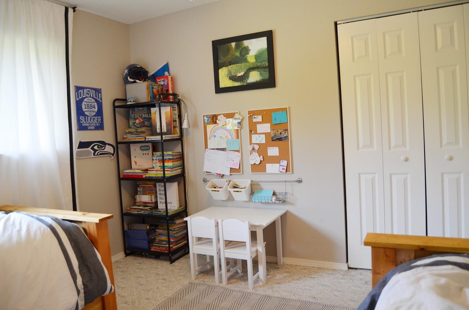 Source List: Walls (Benjamin Moore Revere Pewter HC 172); Trim, Closet U0026  Ceiling (Benjamin Moore Simply White OC 117); Beds (DIY | Home Depot |  Build ...