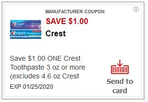 LOAD $1.00/1 Crest Toothpaste CVS APP ONLY MFR Coupon (go to CVS App)