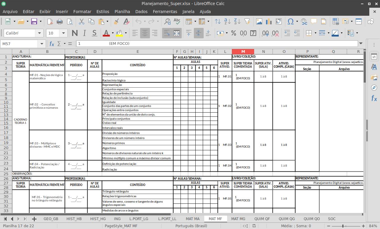 Planilha LibreOffice Calc - Cronograma de conteúdos