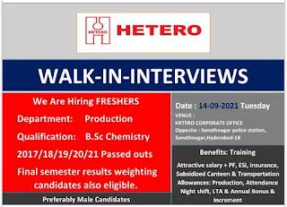 Hetero Drugs Jobs, Walk-in Interviews for Freshers