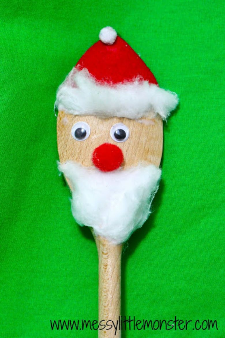 Santa spoon puppet craft