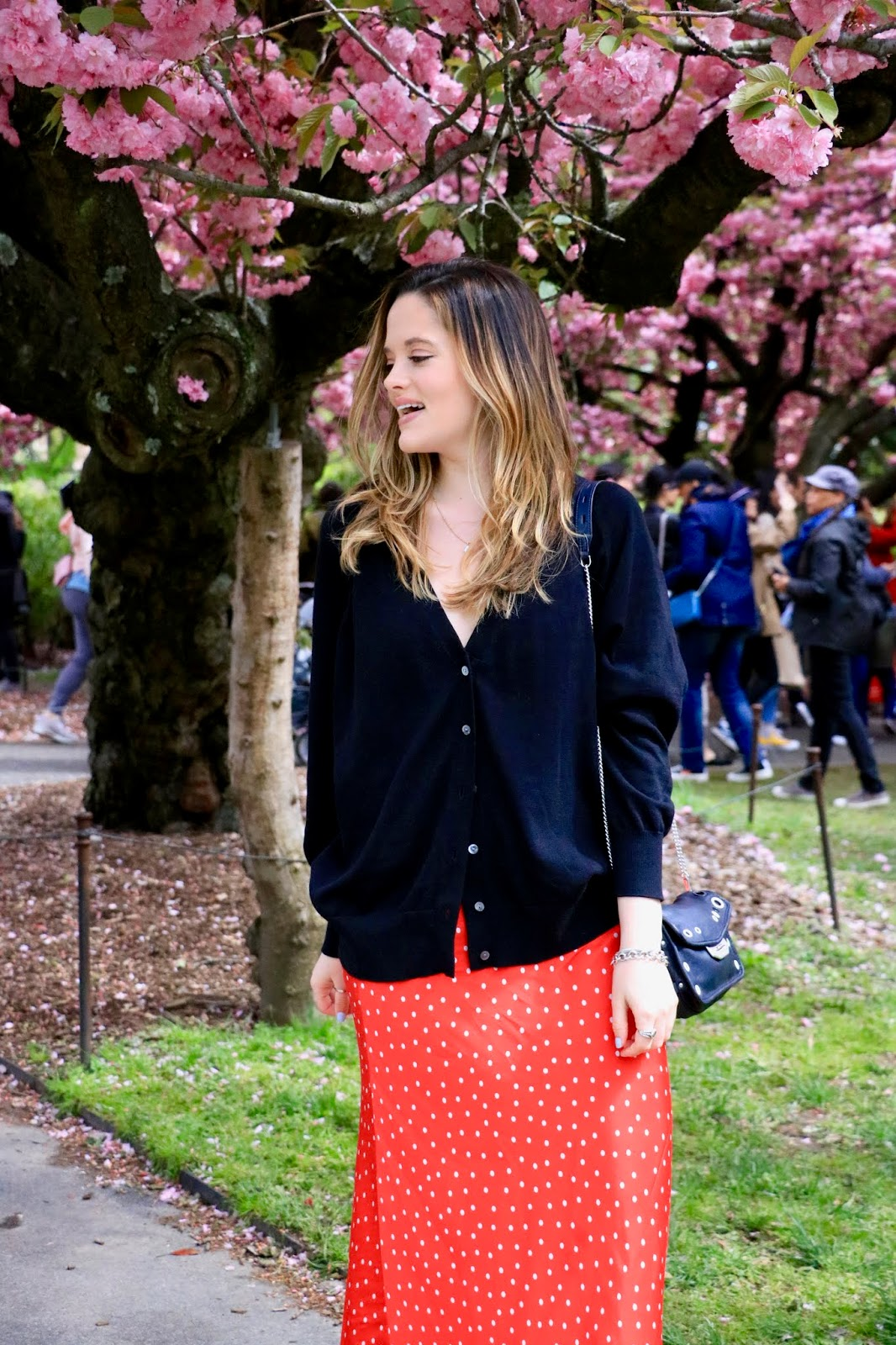 Nyc fashion blogger Kathleen Harper at the Brooklyn Botanical Garden's Cherry Blossom Festival
