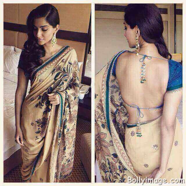 sonam kapoor in backless saree pic