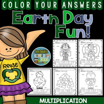 Earth Day Color By Numbers Multiplication