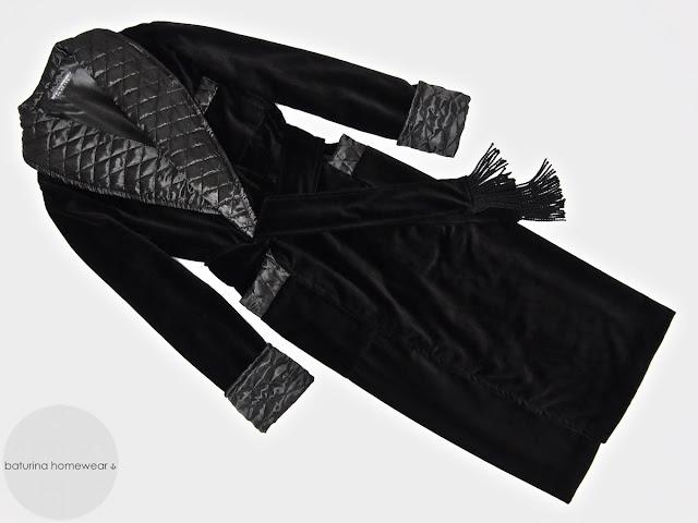 Men's black velvet dressing gown smoking jacket robe quilted silk