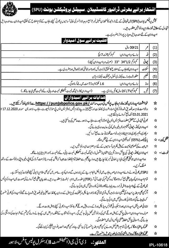 Constable  Driver Special Protection Unit SPU Jobs 2021 - Punjab Police Constable  Driver