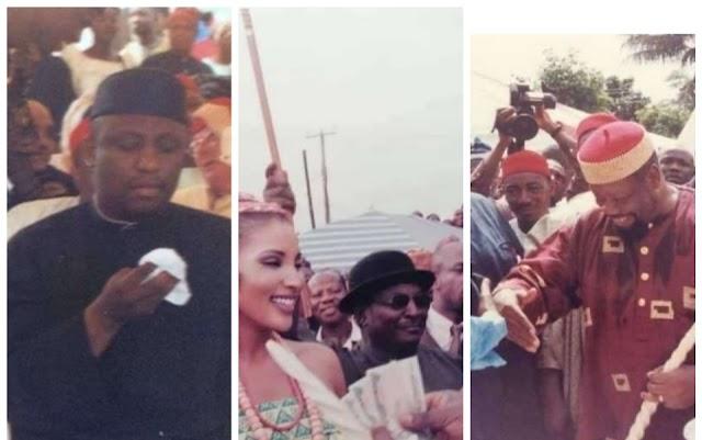 Senator Rochas Okorocha spotted in late Odumegwu Ojukwu's Trad marriage photos, 20 years ago.