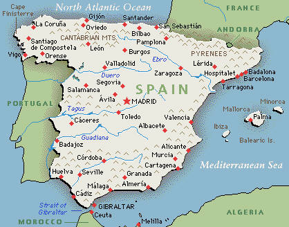 map to spain