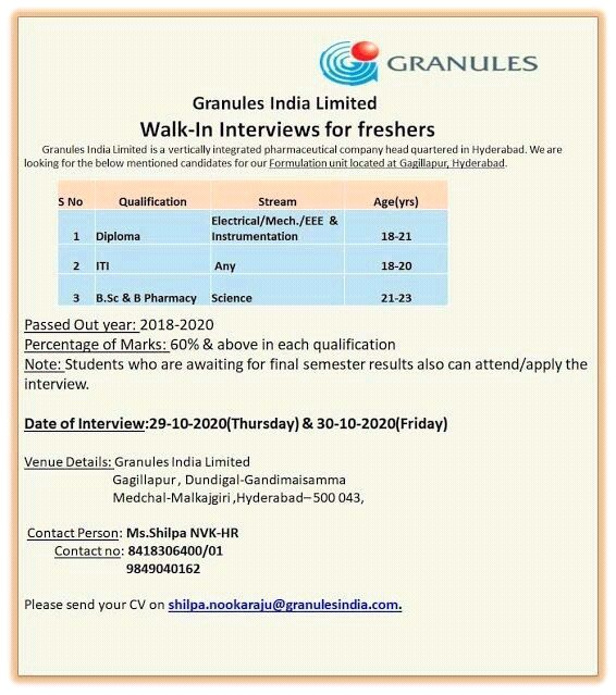Granules India Limited Walk-In Interviews for Freshers ITI, Diploma and B.Sc & B Pharmacy