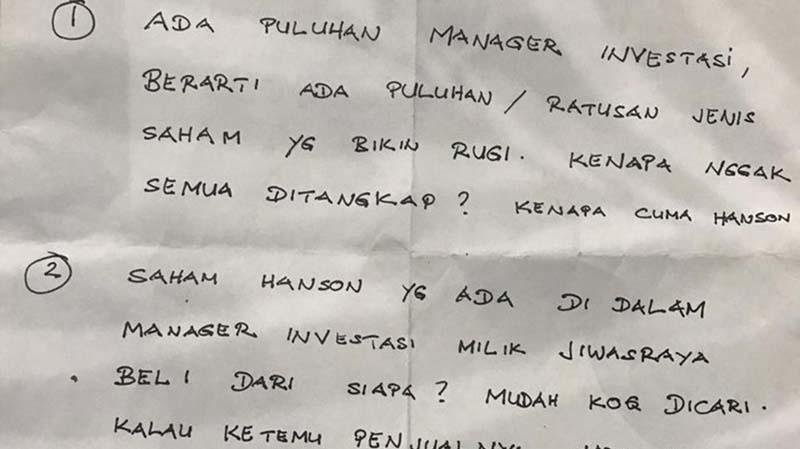 Tersangka Jiwasraya Benny Tjokro Tunjukkan Surat: Kenapa Tak Semua Ditangkap?