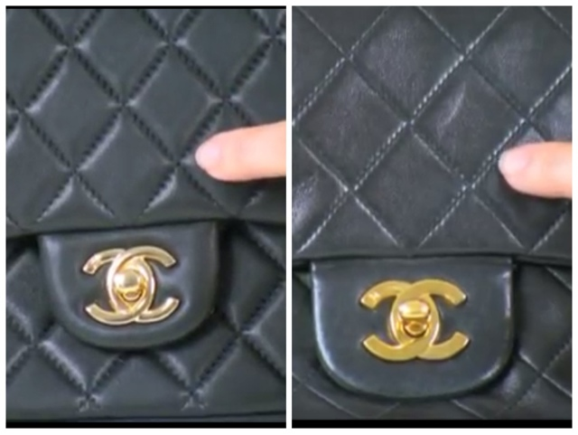 e83f8d6f9297 The photo of the left shows a fake Chanel and the right photo shows an authentic  Chanel. A low stitch count causes the quilted effect to be puffy whereas ...