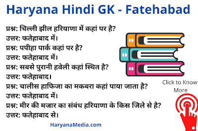 Haryana GK Question Answer in Hindi For Fatehabad District