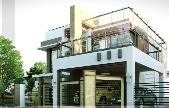 50 images of 15 two storey modern houses with floor plans for Modern big house design