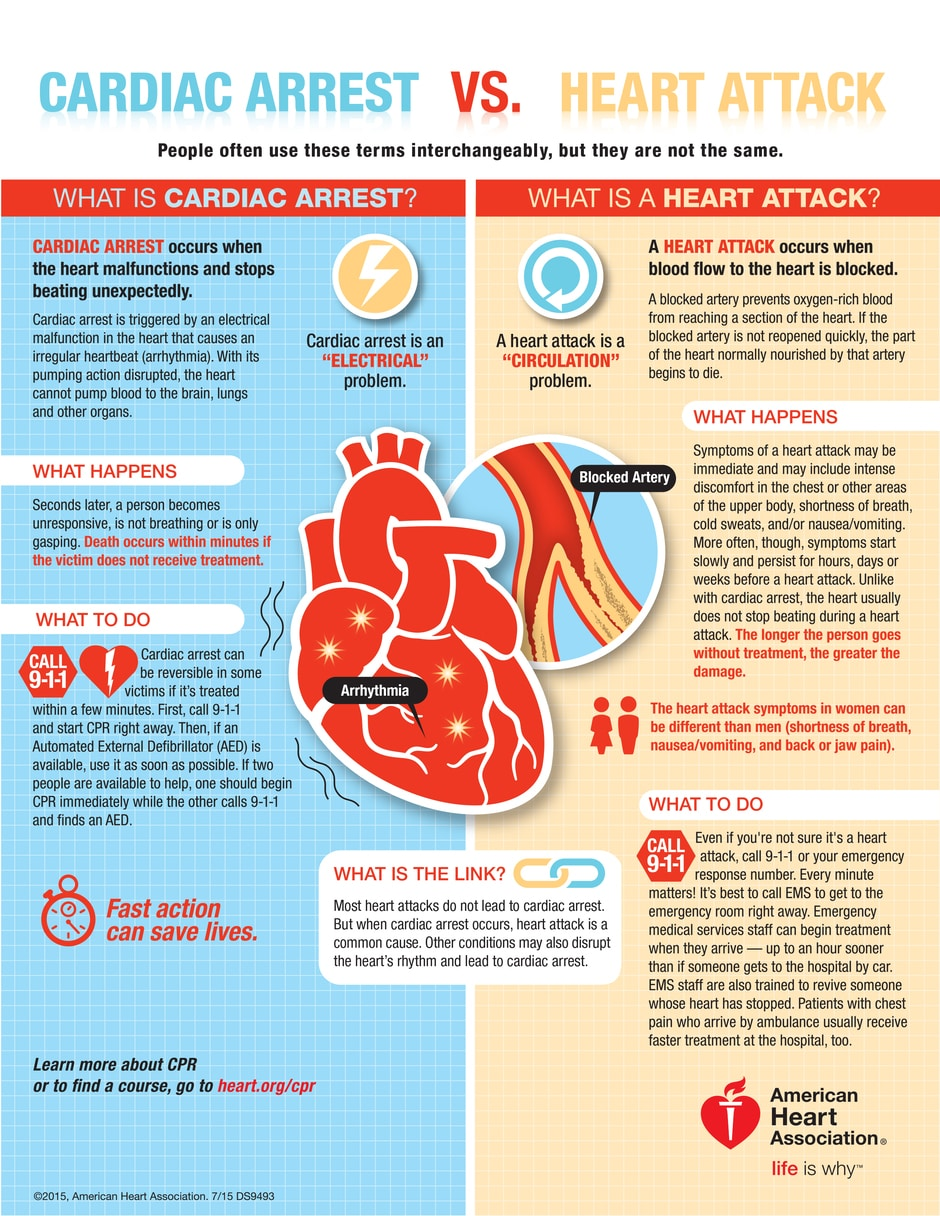 infographics for heart attack and cardiac arrest
